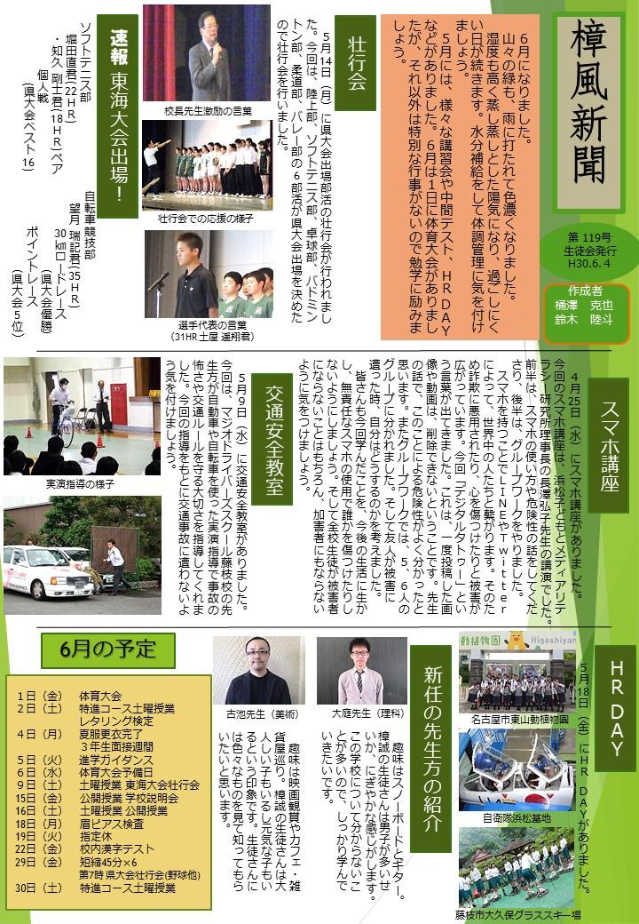 樟風新聞6月号が発行されました