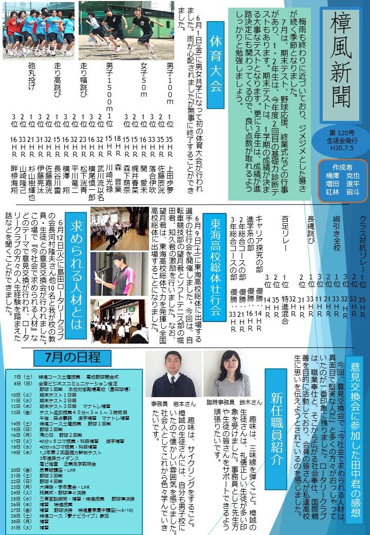 樟風新聞7月号が発行されました