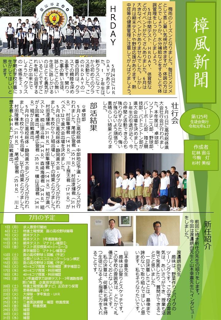 樟風新聞125号を発行しました