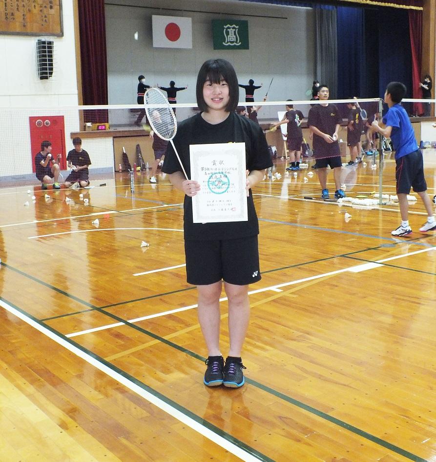 バドミントン選手権大会(1年女子の部)、渡邊さん5位で県大会へ!